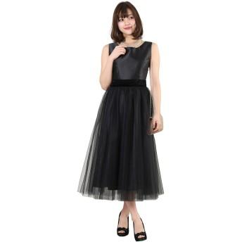 アールズガウン ワンピース 結婚式 パーティー 演奏会 大きいサイズ 成人式 お呼ばれ クラシック チュール ブルー ブラック FD-250081 (3L, ブラック)