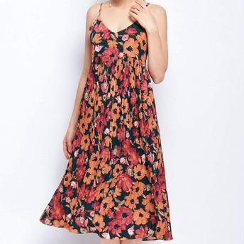 Jtydj 女性のシフォンノースリーブスケーター花プリントハイウエストストラップミディアムドレス (色 : オレンジ, サイズ : S)