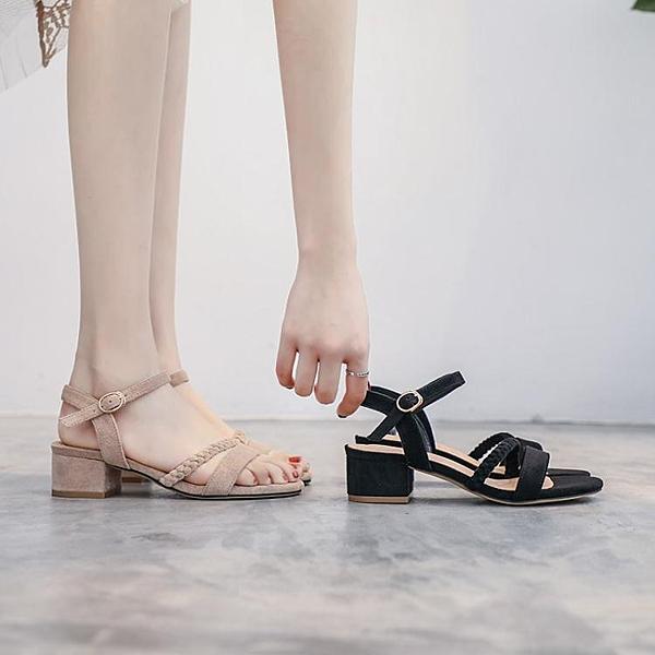 夏季新款高跟時裝中跟粗跟仙女風百搭溫柔ins潮鞋 琪朵市集