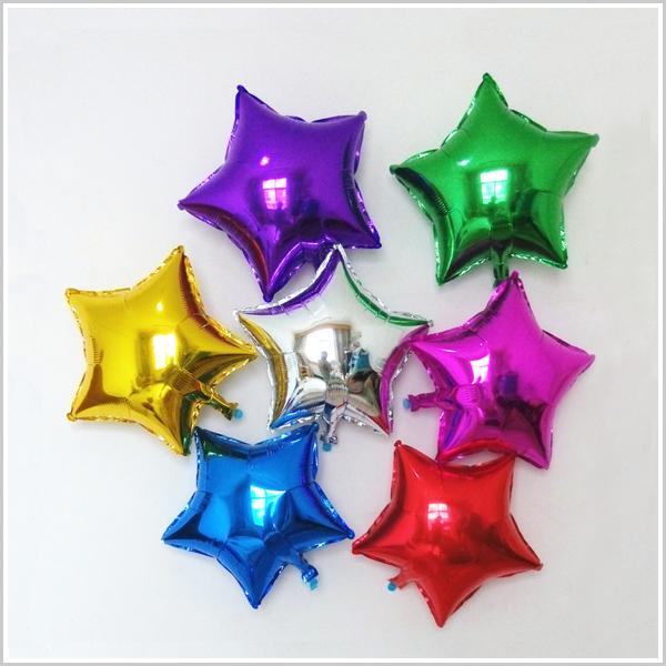 zy生日派對 5寸五角星鋁膜氣球 (八色任選)