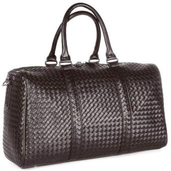 ZJIAWEI ジム、スポーツ、キャンプ、ストレージ、ショッピングのためのユニセックスハンド荷物バッグ手織りダッフルバッグ大容量ジッパーレジャー盗難防止トラベルバッグ ウィークエンダー (Color : Brown)