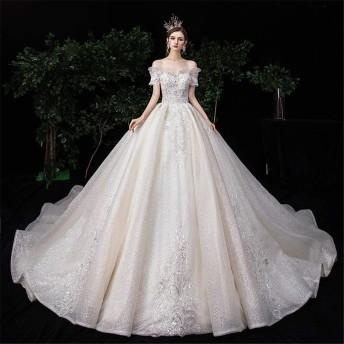 花嫁衣装 レディースウェディングドレスの肩ファンタジー星空の高級ラグジュアリーテーリング女性のウェディングドレス ウエディングドレス (Color : Photo Color, Size : XL)