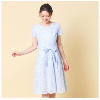 (Rose Tiara(L SIZE)/ローズティアラ エルサイズ)ストライプ/ギンガム刺繍ワンピース/レディース ブルー