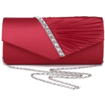 女性のヨーロッパ&アメリカのスタイルのラインストーンキュービックツイルファッションディナークラッチパーティバッグソリッドグロスショルダーバッグチェーンバッグ 女性女の子 (色 : Red)