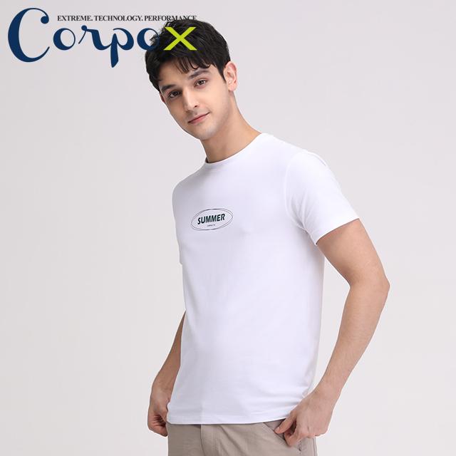 【Corpo X】男款涼感印花T恤(SUMMER款)-白色
