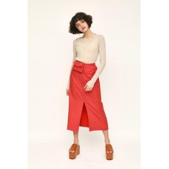 (SLY/スライ)LINEN BLEND POCHETTE SLIT ロングスカート/レディース L/RED1