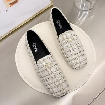 韓國KW美鞋館 法式淑女珍珠氣質樂福鞋-白色絨面