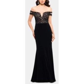 X by Xscape レディース レース スパンコール イブニングドレス US サイズ: 2 カラー: ブラック