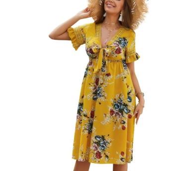 Jtydj ちょう結びと女性の短いベルスリーブVネック花柄プリントビーチドレス (色 : イエロー, サイズ : S)