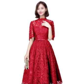 Jtydj 宴会のイブニングドレスレースハイト襟Aラインウェディングドレス (色 : ワインレッド, サイズ : S)