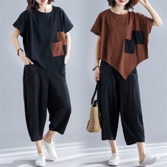 上下セット  レディース セットアップ  Tシャツ  半袖  ワイドパンツ  ゆったり カジュアル 夏 女子 綿麻 大きいサイズ