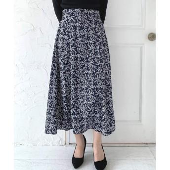 [nissen(ニッセン)] スカート オフィスに最適 Aラインシルエットですっきり見せ小花柄プリントロングスカート ネイビー M レディース