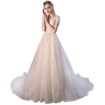 ウェディングドレス ブライダルドレス末尾の星空の森雰囲気スーパー妖精ファンタジー女性のウェディングドレス 二次会 結婚式 パーティー ドレス 花嫁ドレ (Color : Light champagne, Size : XL)