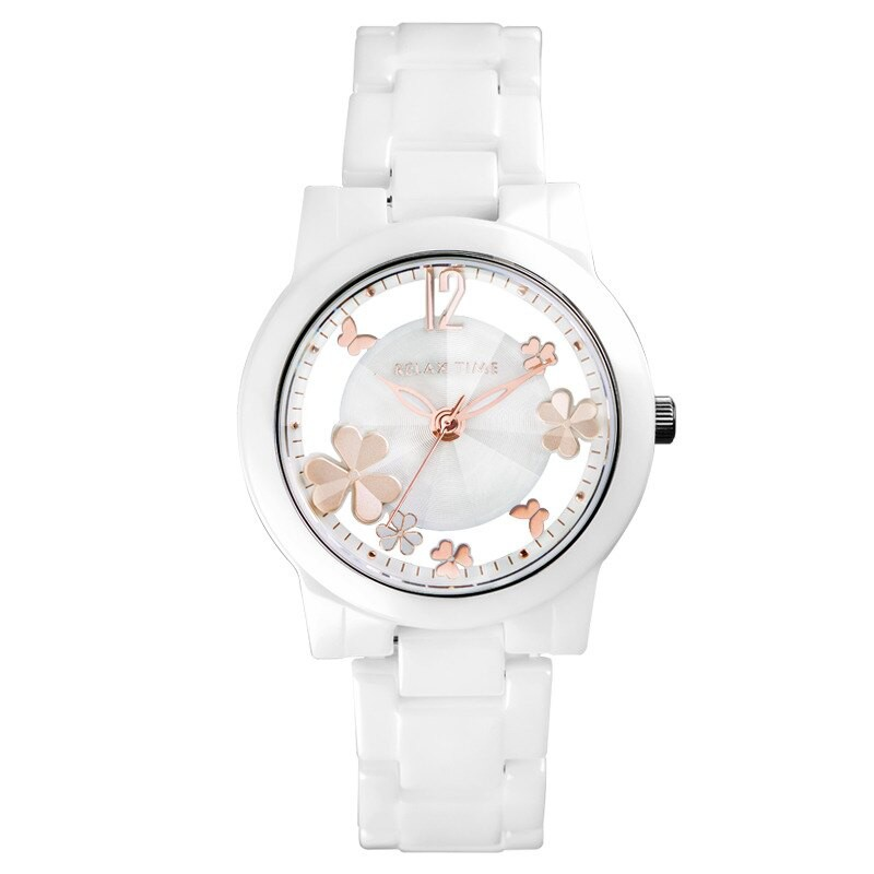 RELAX TIME Garden系列 【加碼送手環】鏤空陶瓷腕錶 (RT-80-2) 白x玫瑰金 38.6mm