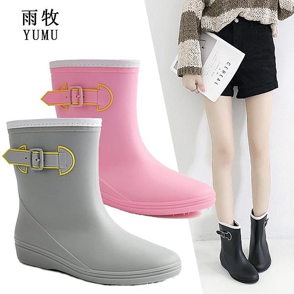 雨牧輕便雨鞋女中筒韓國可愛成人雨靴水靴套鞋防水膠鞋防滑水鞋 印巷家居
