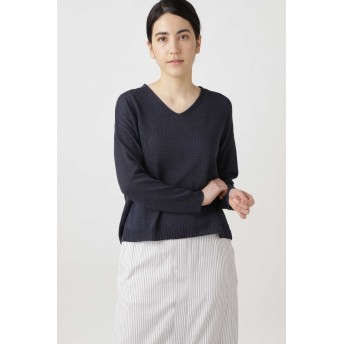 HUMAN WOMAN ◆≪Japan couture≫シルク麻プルオーバーニット その他 ニット,ネイビー