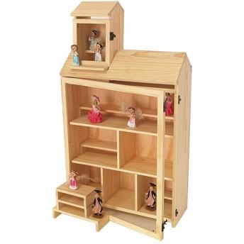ブラインドボックス木製表示童話城Popmart表示ボックス手作りおもちゃのモデル格子収納ボックスダストカバーマルチレイヤ階段ストレージラック42  16  75センチメートルラック