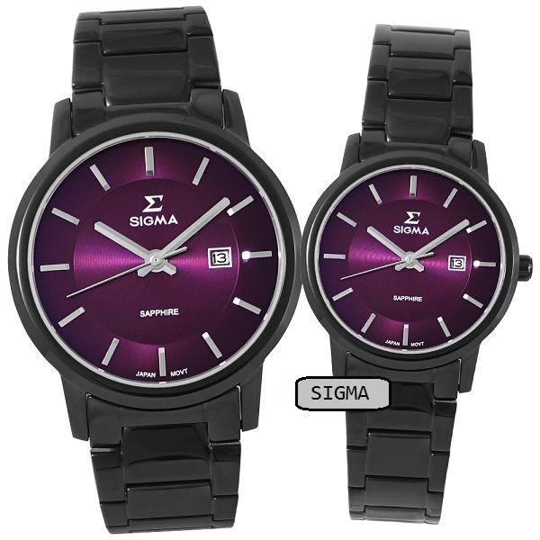 【SIGMA】簡約時尚 藍寶石鏡面情人對錶 1122M-B15 1122L-B15 紫/黑鋼