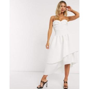 エイソス ミディドレス レディース ASOS DESIGN bandeau cup detail midi prom dress with layered skirt [並行輸入品]