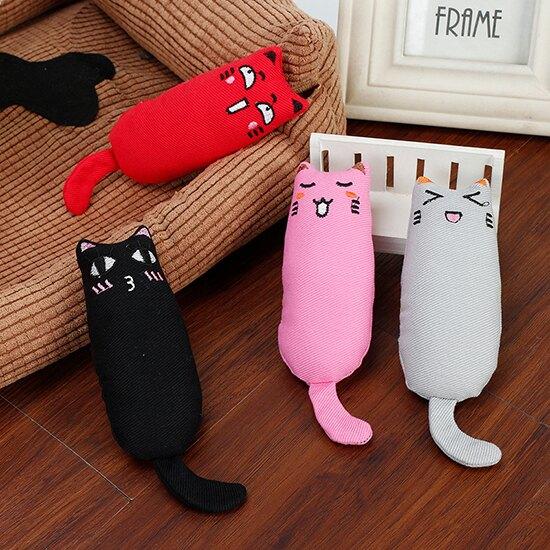 (貓玩具)搞笑表情斜紋布貓草拇指玩具-小樂寵