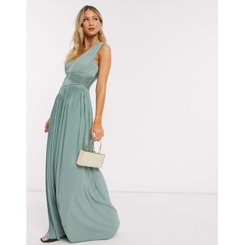 エイソス マキシドレス レディース ASOS DESIGN Premium one shoulder pleated panel maxi dress in spearmint [並行輸入品]
