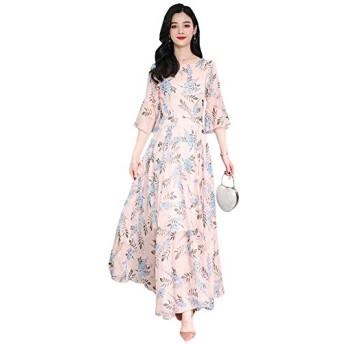 Alppvレディース シフォンワンピース ゆったり ワンピース ふわふわ スカート 女性 花柄 ワンピース ロングワンピースピンクT2