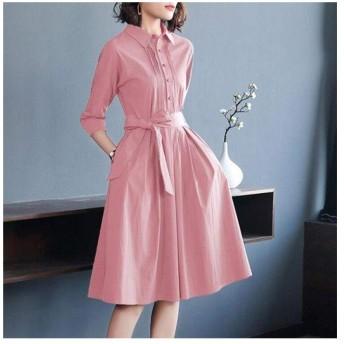 CUIYUNTAOshop ピンクのシャツスカートウエストAラインビッグスイングスカートロングドレスセクシーなドレス (Color : Pink, Size : XL)