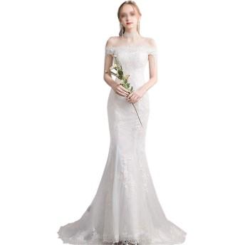 花嫁衣装 小さな尾簡単なフランス語の単語の肩のガーゼのウェディングドレス魚尾花嫁 ウエディングドレス (Color : White, Size : XXL)