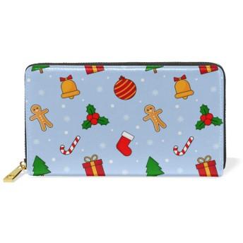 クリスマスブルーギフト本革ファスナー財布レディース真皮のウォレット携帯電話を置くのに適している