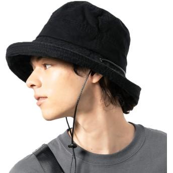 QUEENHEAD UVカット 紐付きサファリハット 帽子 メンズ ハット 大きいサイズ つば広 紫外線 熱中症対策 サファリハット【BIGサイズ(61-63cm)-ブラック】