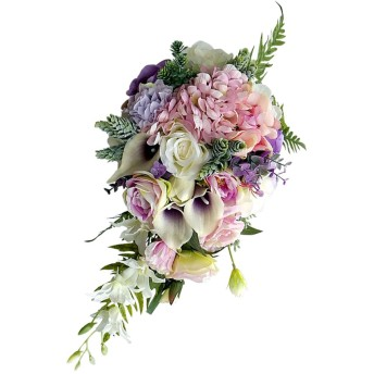 joyMerit 繊細な結婚式の花嫁の花嫁介添人の花束人工的な手の結ばれた花 - 3