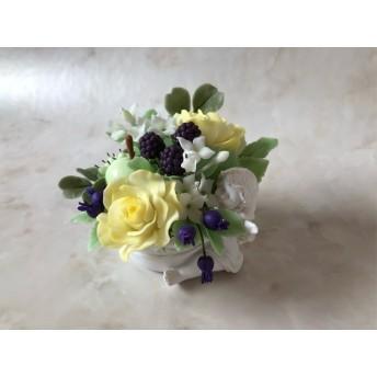 粘土の花*エンジェルのフラワーポット 黄色いバラ*