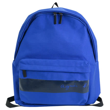 agnes b. CORDURA橫紋帆布後背包 藍