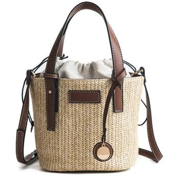かごバッグ ショルダー レディース ストローバッグ 編みバッグ ハンドバッグ 手提げバッグ 巾着型 2WAY バケツバッグ 斜めがけ かわいい 夏バッグ 大容量 (ブラウン)