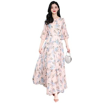 Alppvレディース シフォンワンピース ゆったり ワンピース ふわふわ スカート 女性 花柄 ワンピース ロングワンピースピンクT5