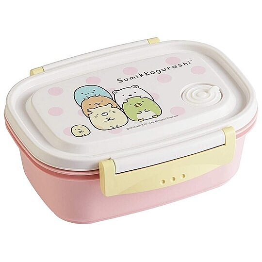 〔小禮堂〕角落生物 日製輕量方形雙面扣便當盒《粉白.點點》550ml.保鮮盒.食物盒 4973307-49490