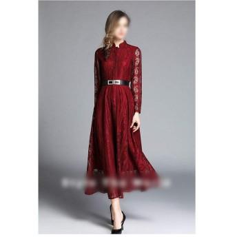 JIANYI JP スカートロングジャガードレースのドレス春の女性の赤いアサリのドレス (Color : Red, Size : L)