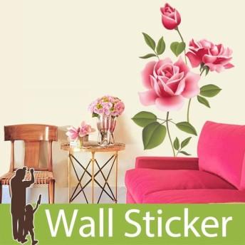 ウォールステッカー 両面印刷 バラ 大輪の花 ピンク 大きいサイズ 北欧 大人かわいい モダン トイレ リビング 貼ってはがせる インテリアシール