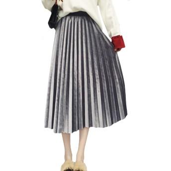 (アブロンダ)ABRONDA ベロア プリーツ スカート ミモレ丈 着痩せ ウェストゴム 可愛い 春夏 レディース 5色展開