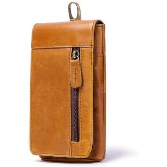 男包 シングルショルダーメンズバッグレトロカジュアルメンズスモールファニーパックレザーヘッドレイヤー牛革携帯電話バッグ (Color : Brown, Size : S)