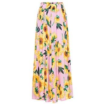 Qukick ハーフレングススカートボヘミアンプリント弾性ウエストAワードビッグスイングスカートビーチスカート (色 : ピンク, サイズ : M)
