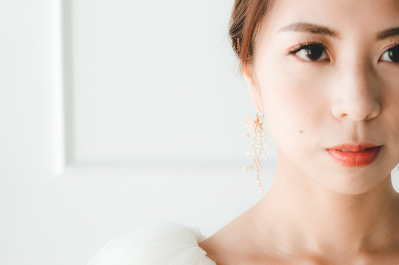 Claire Sakura Twisted Earring/耳環/手作布花/櫻花/新娘飾物
