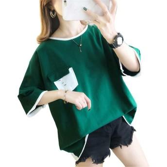[FD]Tシャツ レディース 半袖 tシャツ カットソー トップス 丸首 胸 ポケット (M グリーン)