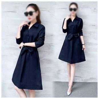 JIANYI JP 長袖春の長袖気質のシャツスカートLADY DRESS (Color : Navy, Size : S)