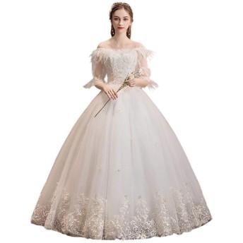 ブライダルウェディングドレス レディースセクシーレースロングイブニングドレスブライダルウェディングドレスハイウエストのウェディングドレス ウェディングドレス (色 : White, Size : L)