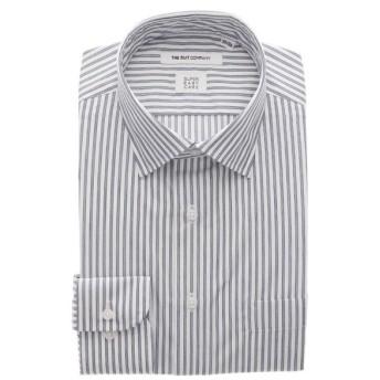 ドレスシャツ/長袖/メンズ/3BLOCK SHIRT/ワイドカラードレスシャツ 織柄 〔EC・FIT〕 ホワイト×ネイビー