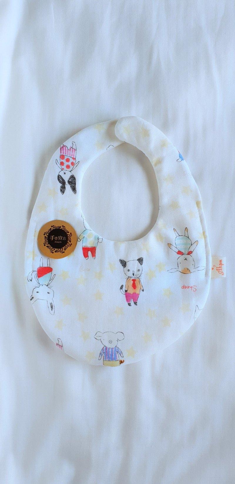 喵汪星人集-淺黃星--八層紗100%cotton雙面蛋型圍兜.口水巾