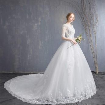 ブライダルウェディングドレス ブライダルウェディングドレスセクシーなディープVネックレースロングイブニングドレスブライダルウェディングドレス ウェディングドレス (色 : White, Size : S)