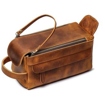 多機能レザーハンドバッグ女性化粧品バッグ大容量トイレタリーストレージバッグ-brown