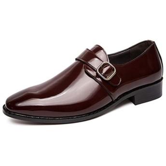 [VRGT] ドレスシューズ 革靴 メンズ 通気 外羽根 レッド ビジネスシューズ 通勤 紳士靴 モンクストラップ スーツ靴 プレーントゥ おしゃれ 大人 歩きやすい 28.0cm 疲れない 滑り止め 飲み会 カジュアルシューズ 成人式 卒業式 男子 フォーマル